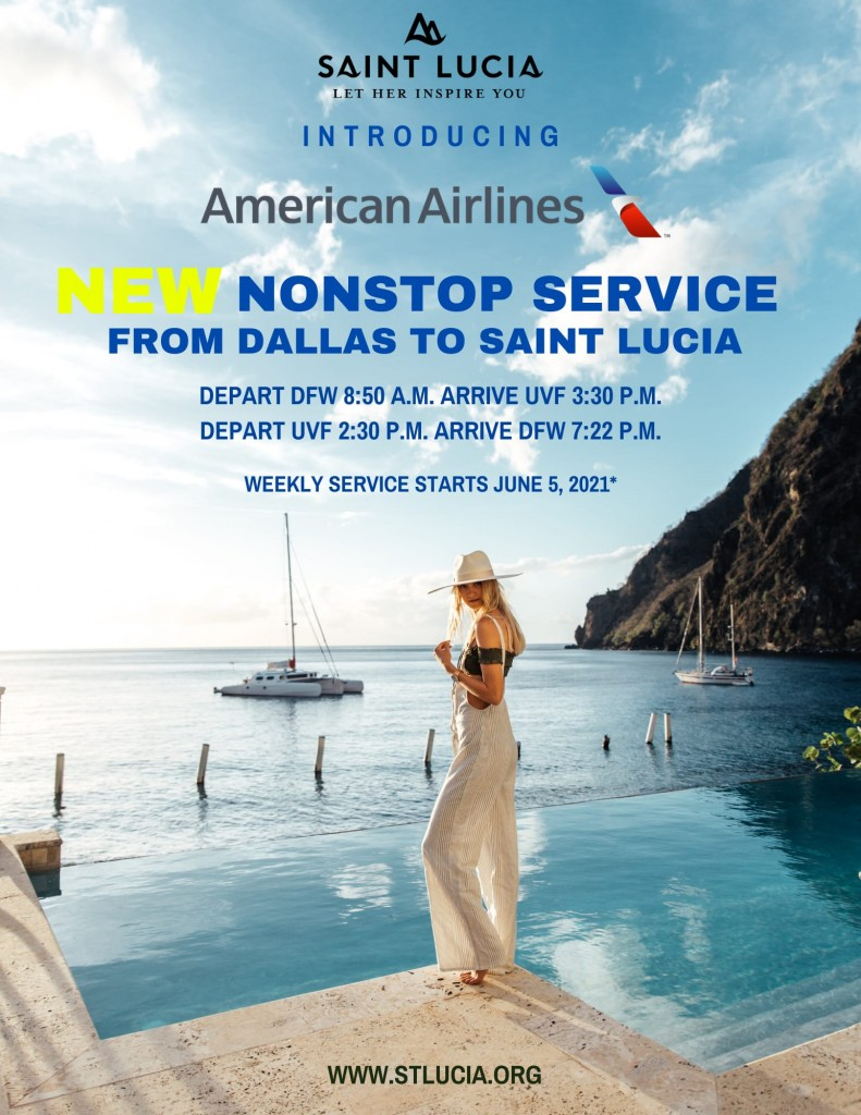 Nonstop service from Dallas to Saint Lucia