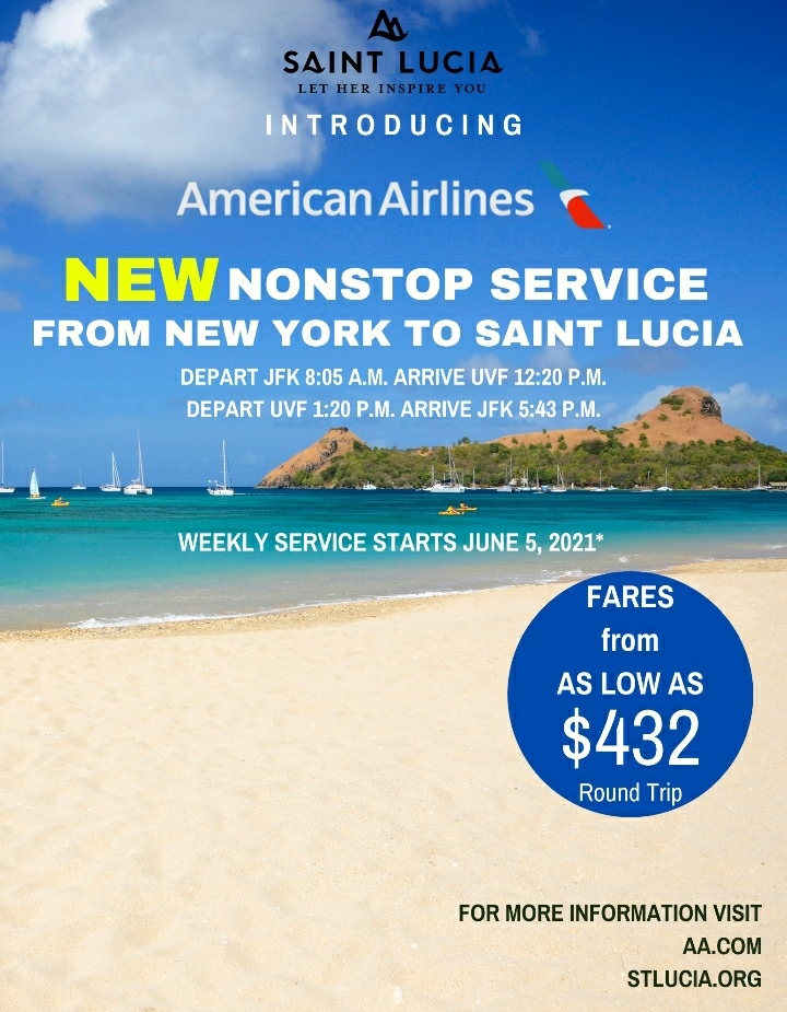 Nonstop service from NY to Saint Lucia
